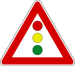 Vertical Traffic Signal Ahead