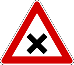 Italy and Latvia crossroads with right-of-way from the right sign.