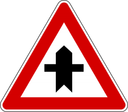 Italy And Latvia Junction With A Minor Cross Road Sign