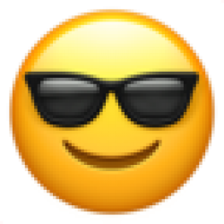 Smiling Face With Sunglasses (Apple iOS 10.3)