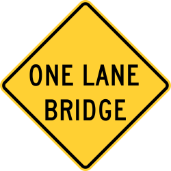 Narrow Bridge Warning Sign
