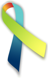 Green, blue, orange, and yellow multi-color awareness ribbon