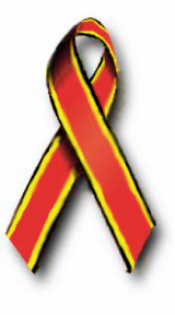 Red awareness ribbon with yellow and black stripes