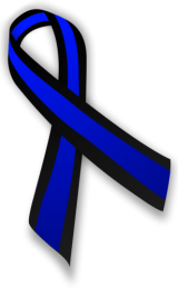 Blue and black awareness ribbon