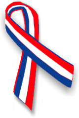 Red, white and blue awareness ribbon