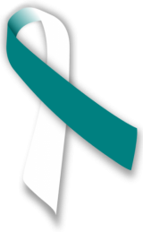 Teal and white awareness ribbon