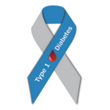 Grey and blue awareness ribbon with blood drop